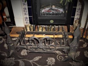 4 PC LARGE SOLID CAST IRON BLACK OPEN INGLENOOK FIRE IRONS CAGE & BASE WITH FLAP